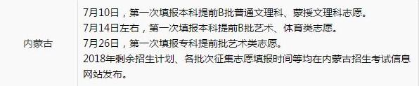 2019年内蒙古高考征集志愿补录时间安排 征集志愿院校名单统计